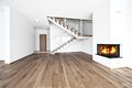 Empty room with fire place Royalty Free Stock Photo