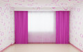 Empty room renovated for girls in pink. The interior has a plinth and curtains in pink.