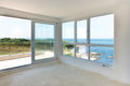 Empty room with sea view in holiday villa Stock Image
