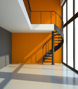 Empty room with staircase and orange wall in waiting for tenants illustration d Royalty Free Stock Photo