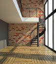 Empty room with staircase in waiting for tenants illustration d Stock Photo