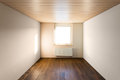 Empty room with warm beige walls and beautiful wooden floor Stock Photography
