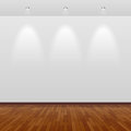 Empty room with white wall and wooden floor Stock Images