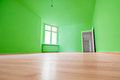 Empty room, wooden floor in new apartment Royalty Free Stock Photo