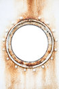 Empty round rusted porthole on ship wall white Stock Photos