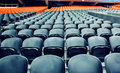 Empty rows dark orange sport stadium chairs Royalty Free Stock Image