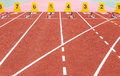 Empty running track texture with lane numbers Royalty Free Stock Photo