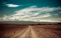 Empty rural road going through prairie under cloudy sky in charyn canyon state national paleontology park in kazakhstan vintage Stock Images