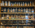 Empty scent bottles in old pharmacy Royalty Free Stock Photo