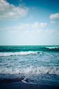 Empty sea beach turquoise and white waves Royalty Free Stock Photos