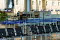 Empty seats and stopped airport equipment in saturday shabbat tel aviv july hall of passenger terminal israeli international ben Stock Photos
