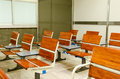 Empty seats at the train in waiting area a terminal station of japan Royalty Free Stock Photos