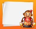 An empty sheet of paper with a musical monkey illustration on orange background Royalty Free Stock Photos