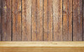 Empty shelf on wooden plank wall brown Stock Photography