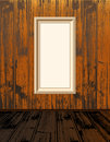 Empty shelves clean vector frames on vintage wood wallpaper with brown wooden floor Royalty Free Stock Photo