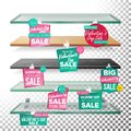 Empty Shelves, Valentine s Day Sale Advertising Wobblers Vector. Retail Concept. Big Sale Banner. February 14 Discount Royalty Free Stock Photo