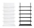 Empty shop shelves black and white on background Stock Image