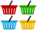 Empty shopping basket icon in four different colors isolated on white background Royalty Free Stock Photography