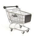 Empty shopping cart on white Stock Photos