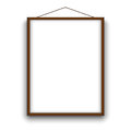 Empty A4 sized vector paper wooden frame mockup hanging with rope. Illustration mockup