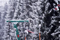 Empty ski lift cable in a ski resort Royalty Free Stock Photo