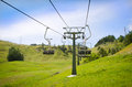 Empty ski resort chairlift in summer emtpy shot with green grass and no snow Stock Photos