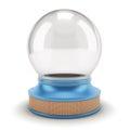 Empty Snow Globe on a blue base. Royalty Free Stock Photo