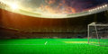Empty soccer stadium in sunlight Royalty Free Stock Photo