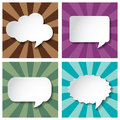 Empty speech bubbles paper on Sun burst retro Patt Royalty Free Stock Photo