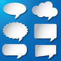 Empty speech bubbles paper vector illustration of on blue background Stock Photos