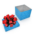 Empty Square blue giftbox on white. 3D illustration