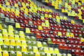 Empty stadium colored seats with numbers on them Royalty Free Stock Photo
