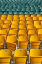 Empty Stadium Seats, with one broken. Stock Photos