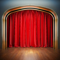 Empty stage a d illustration blank template of theater scene with red velvet curtains Stock Photography