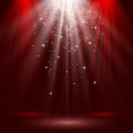 Empty stage lit with lights on red background illustration Royalty Free Stock Photos