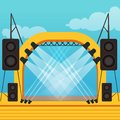 Empty stage for open air festival or music concert. Outdoor Royalty Free Stock Photo