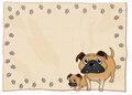 An empty stationery with bulldogs illustration of on a white background Stock Image