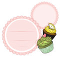An empty stationery with cupcakes illustration of on a white background Royalty Free Stock Photo