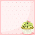 An empty stationery with a mocha cupcake illustration of on white background Royalty Free Stock Photography