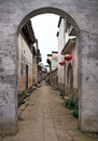 Empty street of an ancient town in anhui province in china is famous for its historical architecture Royalty Free Stock Photo