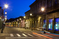 Empty street in baia mare romania view by night Royalty Free Stock Photography
