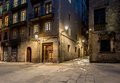 Empty street of barri gotic at night barcelona Stock Photography