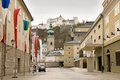 In the empty streets of salzburg hohensalzburg fortress which towers above city austria Stock Images