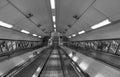 Empty subway escalator Royalty Free Stock Photo