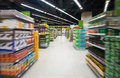 Empty supermarket aisle motion blur Royalty Free Stock Photo