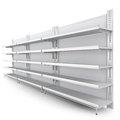 Empty supermarket shelf row of shelves render from side on white d Royalty Free Stock Photo