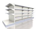 Empty supermarket shelf on white render of row of shelves Stock Images