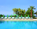 Empty swimming pool in hotel and sea resort Royalty Free Stock Image