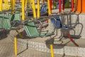 Empty swings on children playground Royalty Free Stock Photo