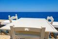 Empty table in greek cafe on Crete Island, Greece Royalty Free Stock Photo